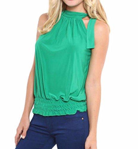 Sheer Cowl Neck - LIREROJE Womens Halter Neck Blouse Sleeveless Sheering Bow Tie Top Green S
