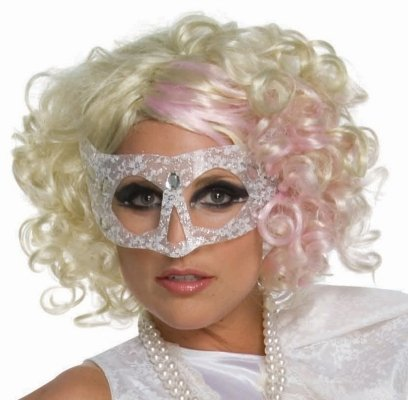 Lady Gaga Curly Blonde Adult Wig with Pink Highlights - One-Size - (Lady Gaga Curly Blonde With Pink Wig)