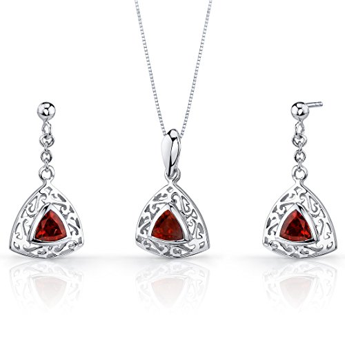 (Garnet Pendant Earrings Necklace Set Silver Rhodium Nickel Finish Filigree Trillion Shape 1.50 Carats)