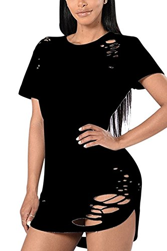 Menglihua Womens T-Shirt Dress Destroyed Ripped Broken Hole Shirt Loose Top Blouses