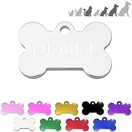 Placa Chapa de identificación Personalizada para Collar Perro Gato Mascota (Plateado)