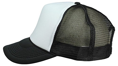 2 Packs Baseball Caps Blank Trucker Hats Summer Mesh Cap (2 FOR Price of 1) (Black/White) -