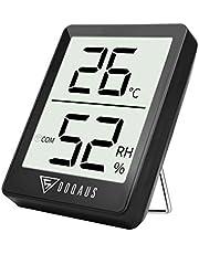DOQAUS Thermometer Innen, Luftfeuchtigkeitsmessgerät Innen, Digitales Hygrometer Innen, Hygrometer Feuchtigkeit, Thermo-Hygrometer mit Hohen Genauigkeit, für Babyraum, Wohnzimmer, Büro(Schwarz)
