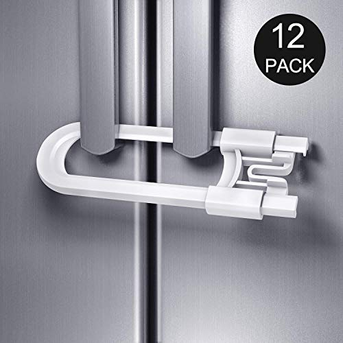 Adoric 12 Pack Baby Proofing Cabinet Locks, U-Shaped Sliding Child Safety Cabinet Locks Latches for Knobs and Handles