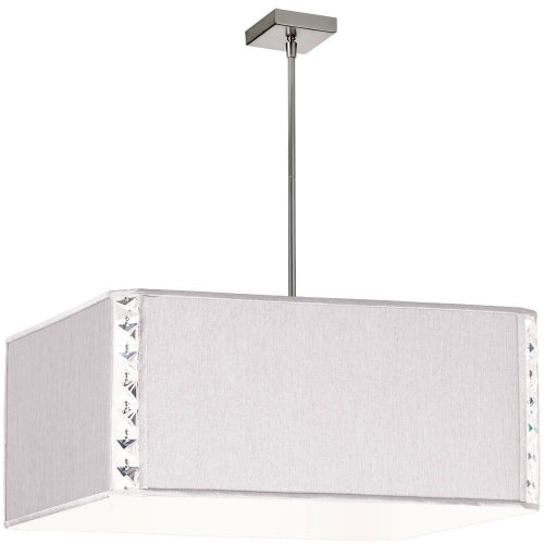Dainolite Lighting 521809-840-PC 3-Light Square Elise Pendant with Crystal Accents, Pearl Silk Glow Square Shade