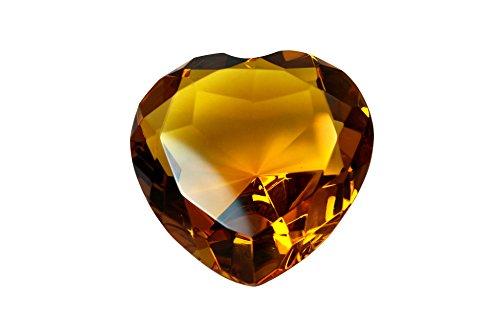- Tripact 80 mm Amber Orange Diamond Heart Shaped Jewel Crystal Paperweight