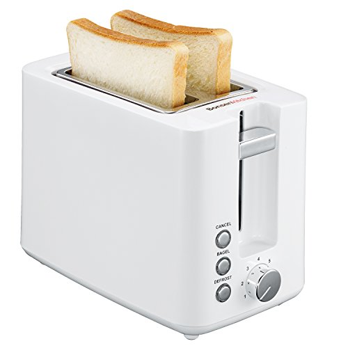Bonsenkitchen 2-Slice Wide-Slot Plastic Toaster, Defrost, Bagel and Cancel Function Toaster, 7 Shade Selection Settings, White (TR8720)