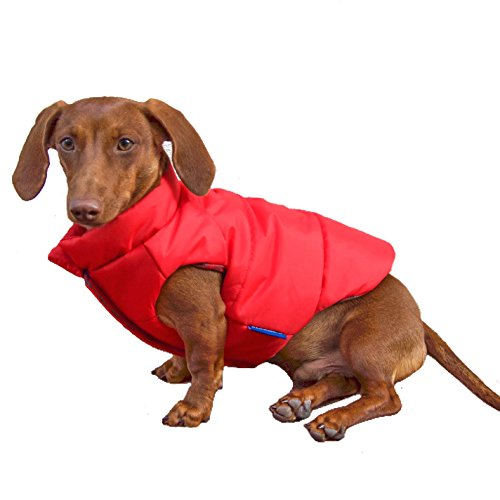 DJANGO Puffer Dog Jacket and Reversible Cold Weather Dog Coat with Full Coverage and Windproof Protection (Small, Lava Red/Buffalo Plaid)