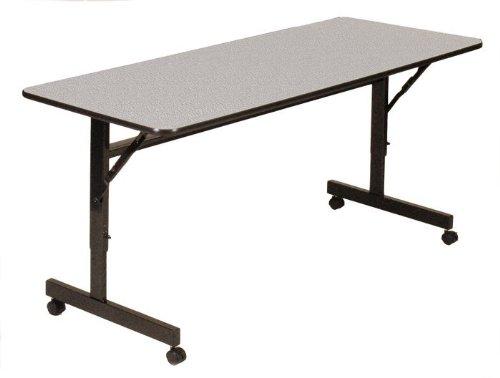 Correll FT2460M-15 EconoLine Flip Top Table, 24' x 60', Adjustable Height, Gray Granite Melamine Top, Rectangle, Seats 2