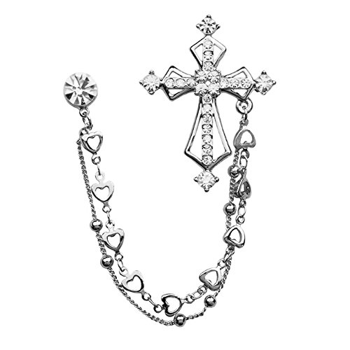 Fashion Rhinestone Cross Chain Brooch Lapel Pin for Men Shirt Suit Wedding Accessory (Silver)