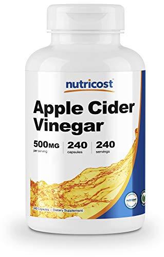 Nutricost Apple Cider Vinegar Capsules 500mg, 240 Veggie Capsules - Natural, Vegan, GMP, Non-GMO and Gluten Free (Best Way To Take Apple Cider Vinegar For Acid Reflux)