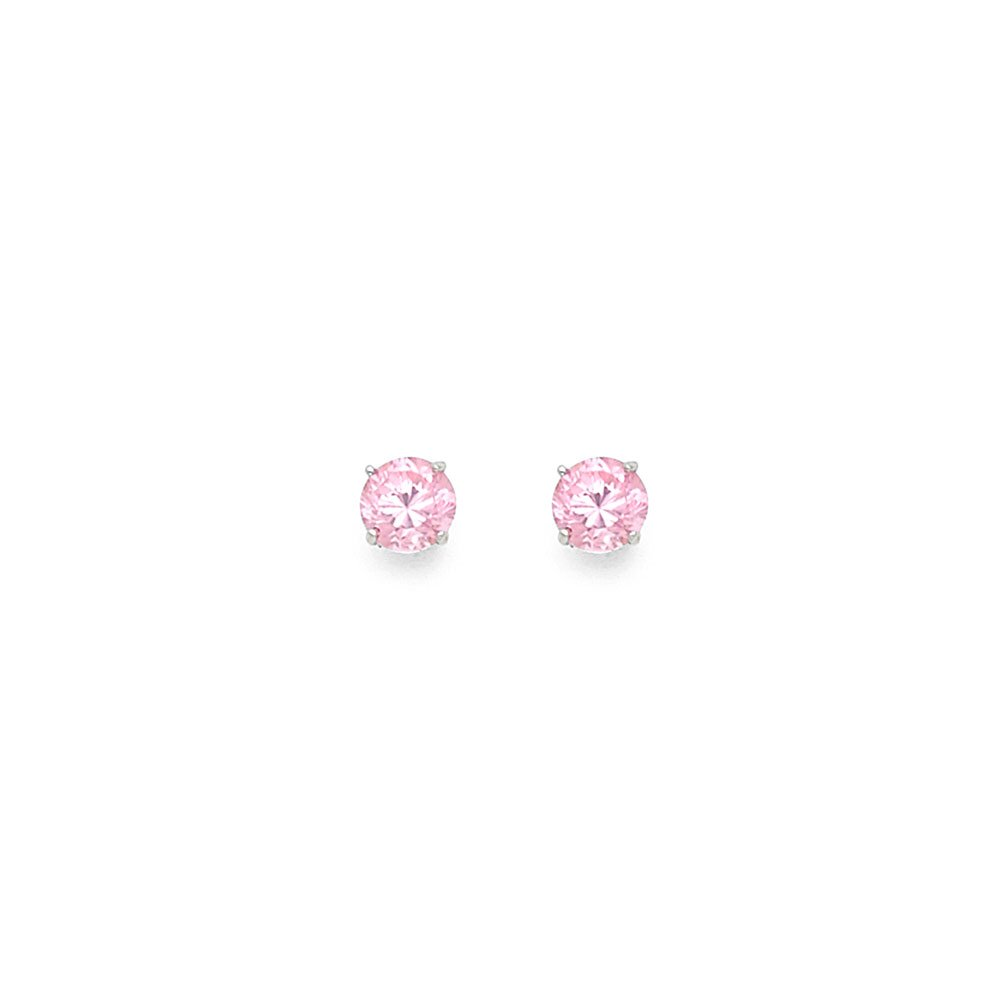 14k White Gold 4mm October Round CZ Solitaire Basket Setting Stud Earrings