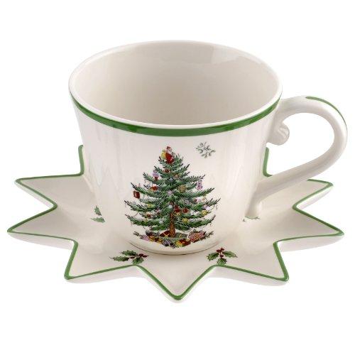 Spode Christmas Tree Jumbo Cup with Star-Shaped Saucer