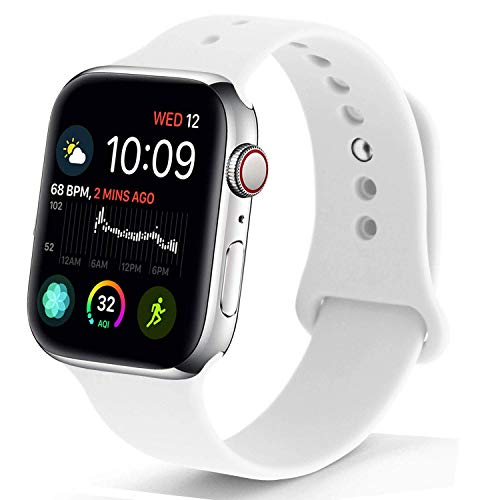 NUKELOLO Sport Band Compatible with Apple Watch 42MM 44MM,Soft Silicone Replacement Strap Compatible for Apple Watch Series 4/3/2/1 [M/L Size in White Color]