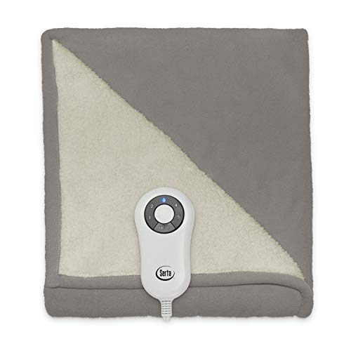 Serta | Reversible Sherpa/Fleece Heated Electric Throw Blanket, 50x60 With 5 Setting Controller, Beige