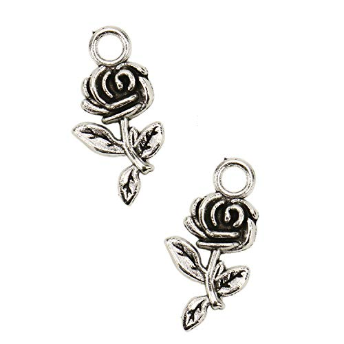JETEHO 50 PCS Alloy Rose Charms Pendants for DIY Necklace Bracelet Jewelry Making (Ancient Silver)