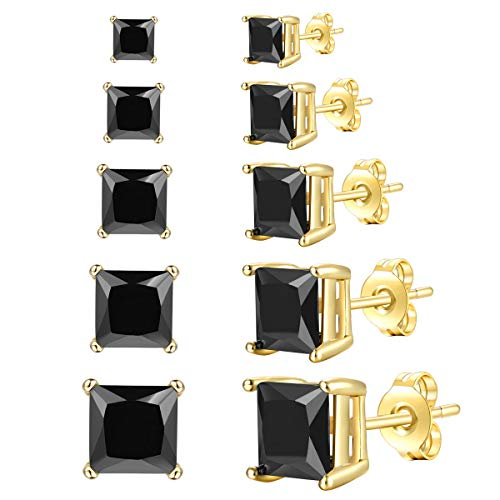 FOSIR Womens Mens CZ Stud Earrings 18K Real Gold Plated Simulated Diamond Cubic Zirconia Ear Stud Set(5 Pair)