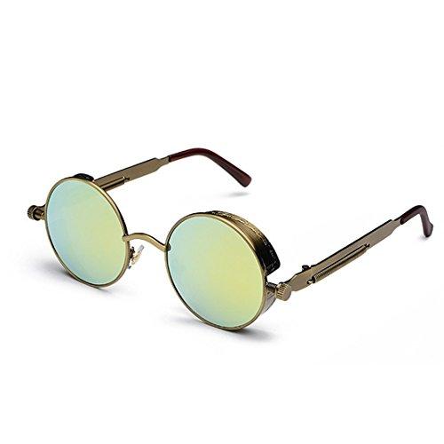 moda color Dorado retro de de Marco círculo de sol Gafas Inlefen de Gafas Bronce sol metal de Lente de xwqIpaU