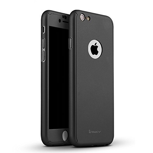 low priced 295dd 4df68 iPaky AT15312 360 Protective Body Case with Tempered Glass for Apple iPhone  SE 5 5S,(Black)