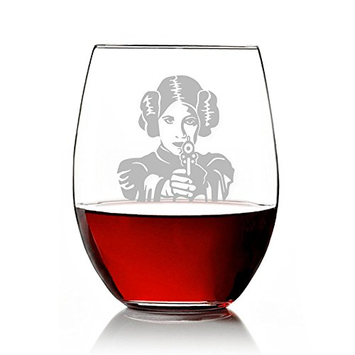Abby Smith, Princess Leia Engraved 21-ounce Stemless Wine Glass