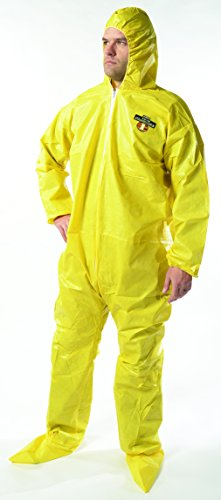 OmniPro AX6005F 85G Serged Bound Seams Protective Hazmat Suit Coveralls with Hood and Boots, 5X-Large, Yellow