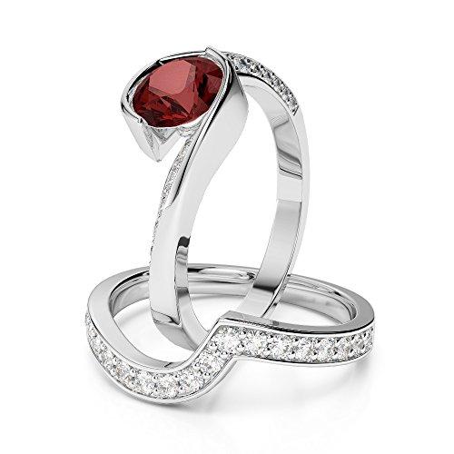 Or blanc 18carats 1CT G-H/VS sertie de diamants ronds Cut Grenat et mariée Bague de fiançailles et ensemble de Agdr-2019