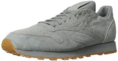 Reebok Men's CL Leather Embossed Camo Classic Shoe,Flat Grey/Tin Grey/Gum,10.5 M US