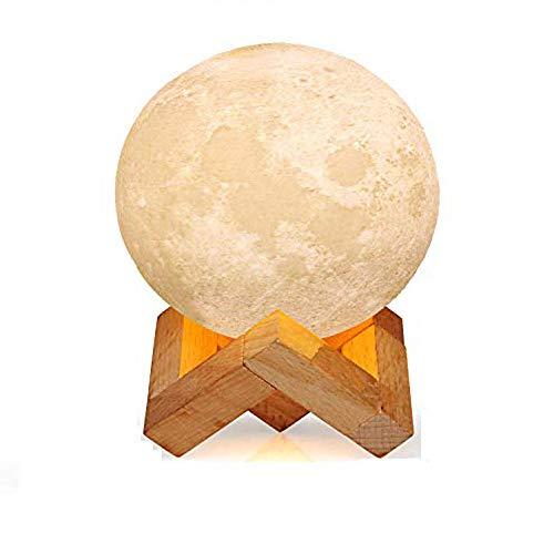 YAOJU Lampara de luna,LED de Estado de animo con Interruptor Tactil, Lampara de Luna 3D de 15 cm, Luz Nocturna Seleccionable y Regulable de 3 Colores, Recargable por USB, Regalos para La Decoracion