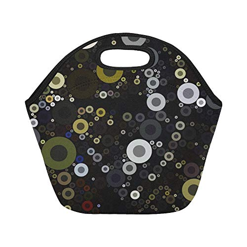 Insulated Neoprene Lunch Bag Art Retro Design Record Music Vintage Style Large Size Reusable Thermal Thick Lunch Tote Bags For Lunch Boxes For Outdoors,work, Office, School