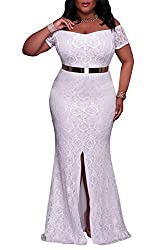Elapsy Womens Sexy Plus Size Off Shoulder High Slit Floral Maxi Party Bohemian Wedding Formal Long Dress Evening Gown White Xx Large