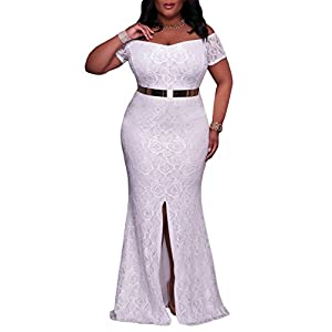Elapsy Womens Plus Size Off Shoulder High Slit Floral Maxi Party Evening Long Dress