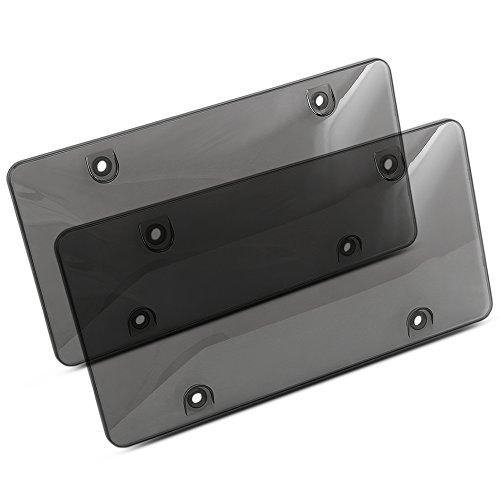 License Plate Cover - Tinted Plate Shields - 2-Pack Unbreakable Shields for Long Lasting Protection