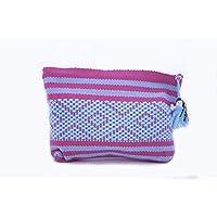 Cosmetiquera Chica Color Rosa mexicano y azul cielo, Bordada en telar de Cintura
