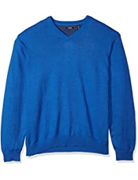 Men's Big and Tall Long Sleeve Soft Fine Gauge Solid V-Neck Sweater