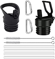 Straw Lids(2 Pack) with Straws and Cleaner Brush for Hydro Flask Wide/Standard Mouth Lid Sports Water Bottle,