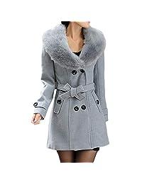 kingfansion Women Ladies Double Breasted Winter Long Coat Wool Jacket Parka