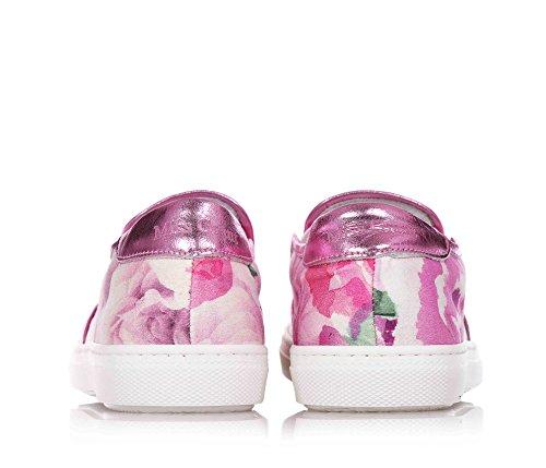 MISS GRANT - Pink Slipper aus Stoff, eleganter und sehr faszinierender Stil, mit Blumenmuster, obere Borte aus Leder, Applikation von Strass, Mädchen, Damen