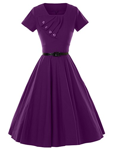 GownTown 1950s Retro Vintage Short Sleeve Party Swing Stretchy Dresses
