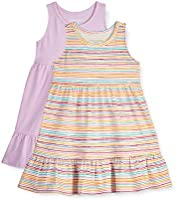 Amazon Essentials Girls' 2-Pack Cotton Tiered Play Dress
