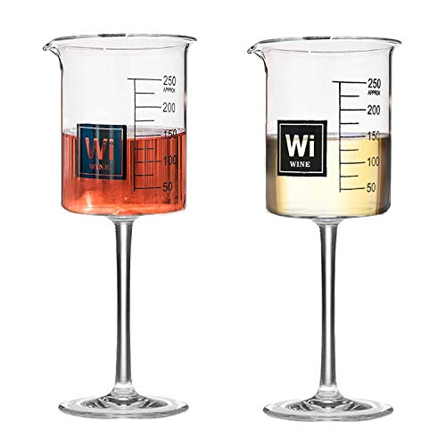 Drink Periodically Set of 2 Laboratory Beakers Wine Glasses-Clear Glass- 8ounces