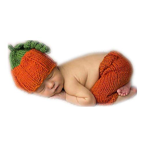 Crochet Pumpkin Hat - Fashion Cute Newborn Boy Girl Baby Outfits Photography Props Pumpkin Hat Pants Clothes