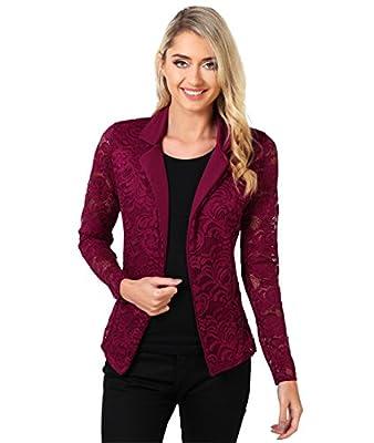 KRISP Womens Vintage Slim Fit Lace Blazer Ladies Cardigan Shrug Jacket Plus Size