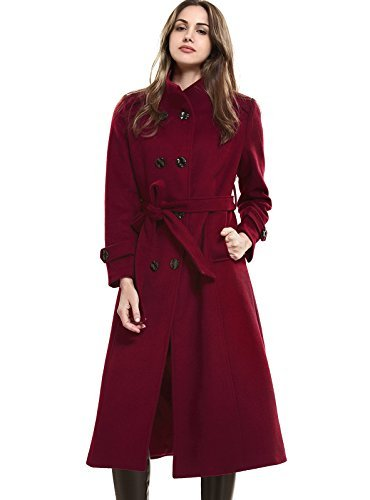 Escalier Women's Double-Breasted Trench Coat Wool Jacket with Belt Wine S ()
