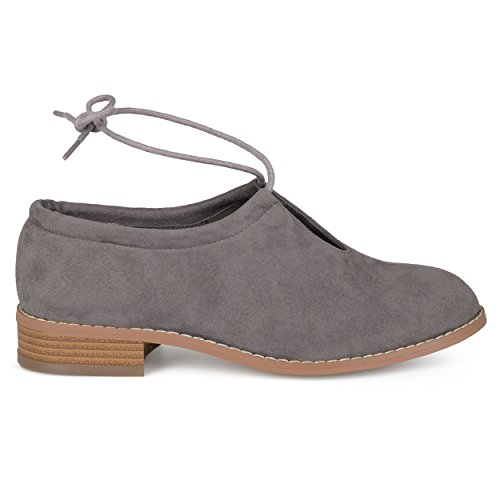 up Round Ankle Flats Out Toe Grey Co Womens Lace Cut Suede Faux Brinley AzIY1Pqwn