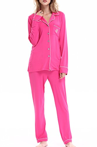 Women Comfort Buttom Down Pajamas Set Knit Sleepwear Pjs by NORA TWIPS(Rose Red,L)