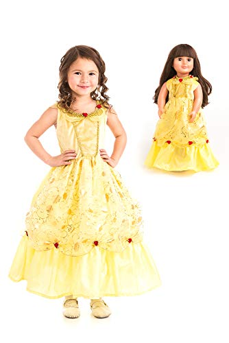 Little Adventures Yellow Beauty Princess Dress Up Costume & Matching Doll Dress (Large (Age 5-7))