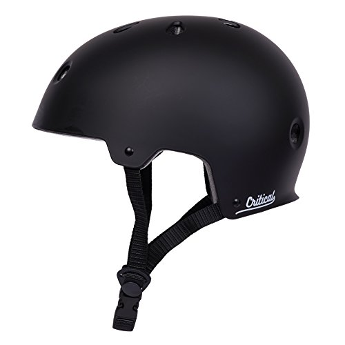 "Critical Cycles Classic Commuter Bike/Skate/Multi-Sport CM-2 Helmet with 11 Vents, Matte Black, Large: 59-63cm / 23.25""-24.75"