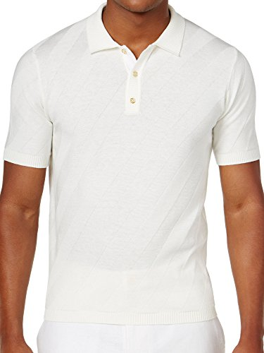 Sean John Men's Jacquard Stripe Sweater Polo (4XL, Cream) by Sean John