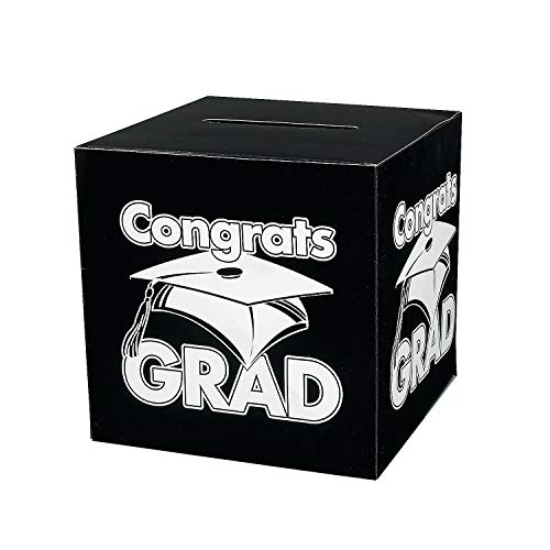 Fun Express - Congrats Grad Black Card Box for Graduation - Party Supplies - Containers & Boxes - Paper Boxes - Graduation - 1 Piece -