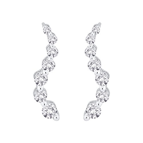 "Diamond""Journey of Love"" Curve Earrings in 10K White Gold (1/6 cttw) (Color GH, Clarity SI2-I1)"